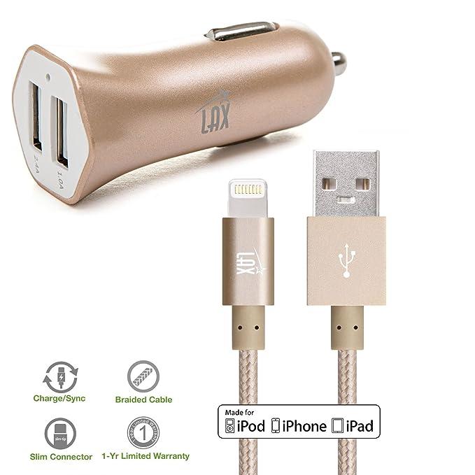 LAX Apple MFI certificado Dual USB 3.4 a cargador de coche ...