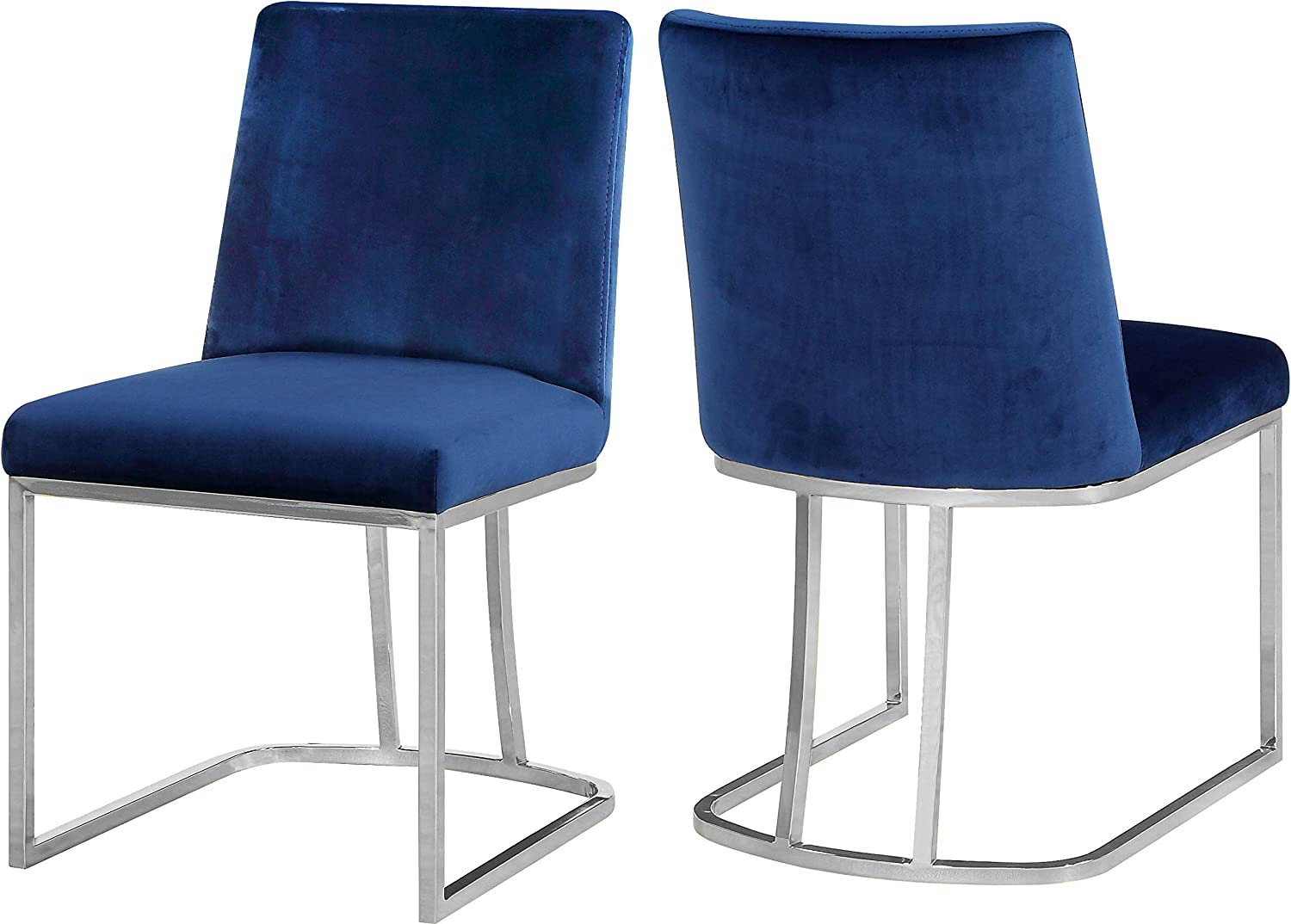 Meridian Furniture Heidi Collection Modern | Contemporary Velvet Upholstered Dining Chair with Polished Chrome Metal Frame, Set of 2, 19