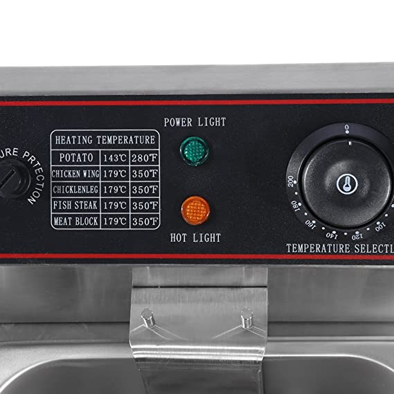 Freidora Electrica, 220-240V 12L Gran 5000W Doble Profesional Industrial De Acero Inoxidable Regulador de Temperatura Fryer Sartén Comercial: Amazon.es: ...