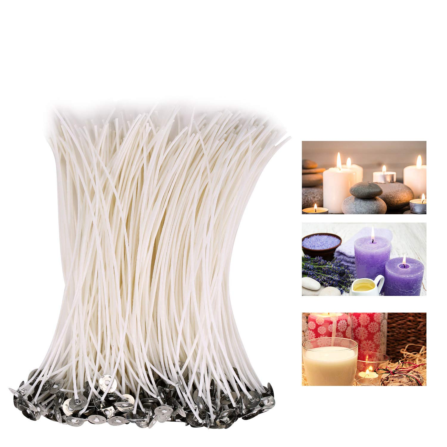 CLEYCYE Candle Wicks, 200piece Low Smoke 8inch Candle Wick - Pre-Waxed Natural Candle Wicks for DIY Candle Making