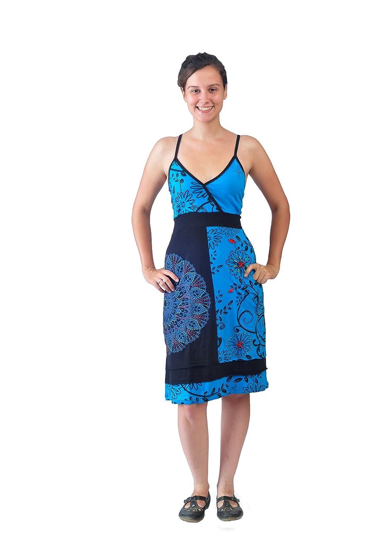 Damen-Beleg-Kleid mit bunten Mandala Gepunktete Stickerei