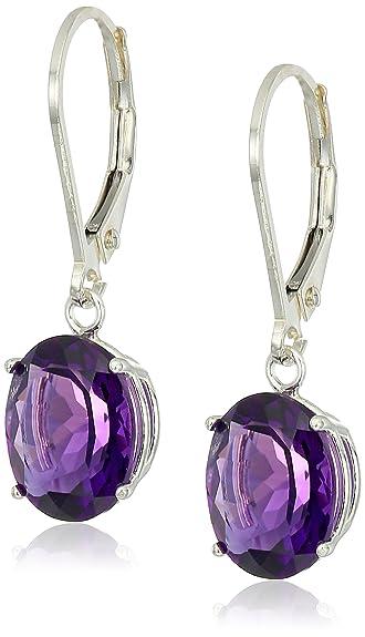 8b77de601 Amazon.com: Sterling Silver Oval Amethyst Dangle Earrings: Jewelry