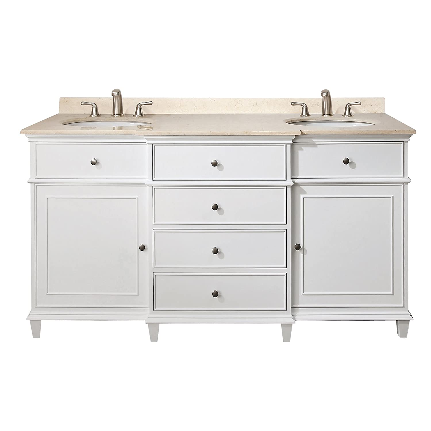 Avanity Windsor 60 in. Vanity with Carrera White Marble top and Dual Undermount Sinks in White finish chic