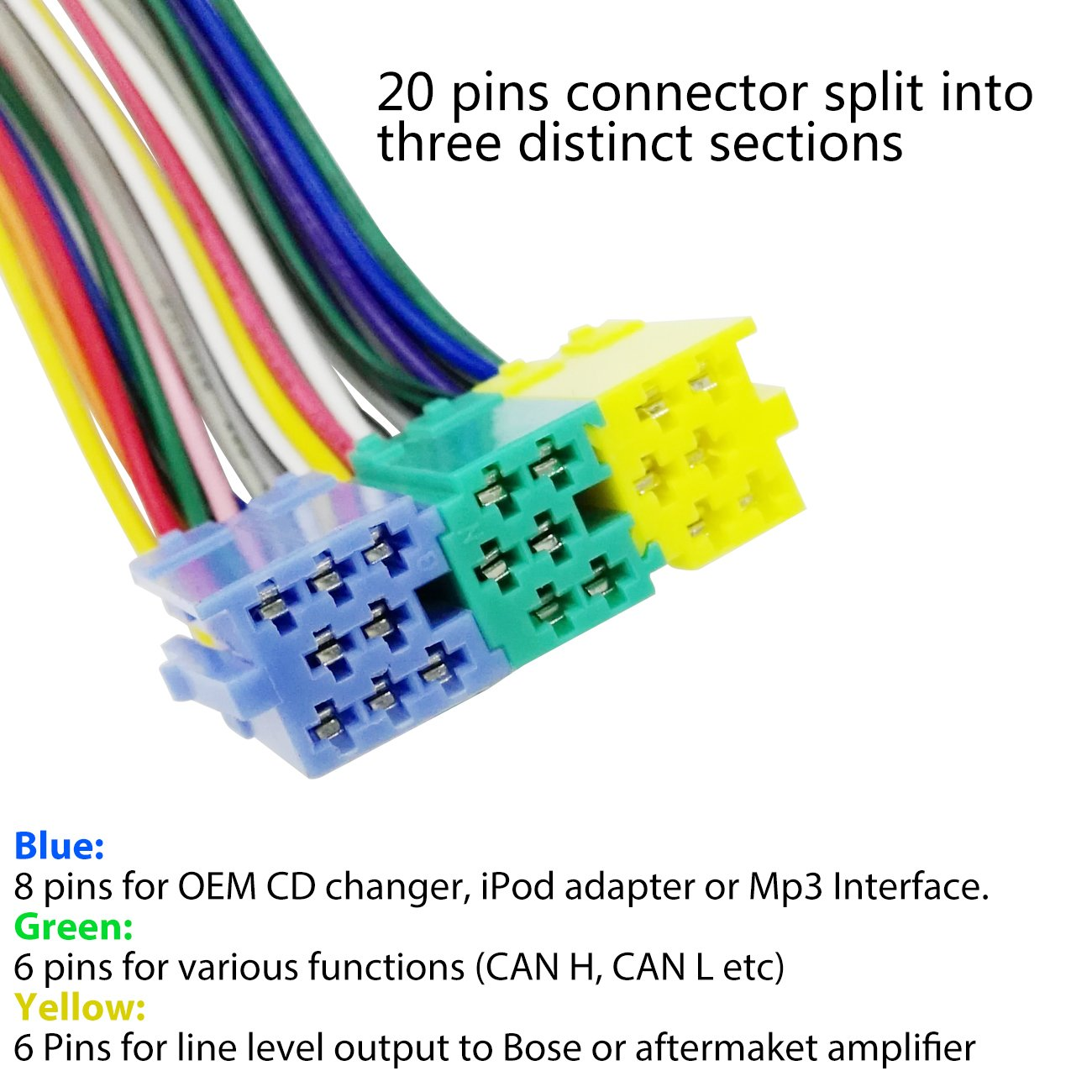AUX Line In Adapter MP3 CD Wechsler 8-Pin Pol für Radio VW MFD RNS Premium 4 5