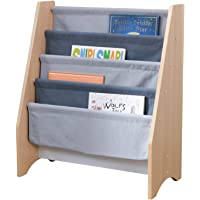 KidKraft Wood and Canvas Sling Bookshelf Furniture for Kids - Gray & Natural, Gift for Ages 3+