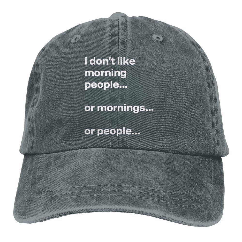 I Dont Like Morning People Plain Adjustable Cowboy Cap Denim Hat for Women and Men
