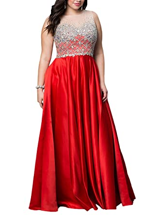 Bridal_Mall Womens Plus Size Sheer Tulle Top Beaded Bodice Long Evening Prom Dresses