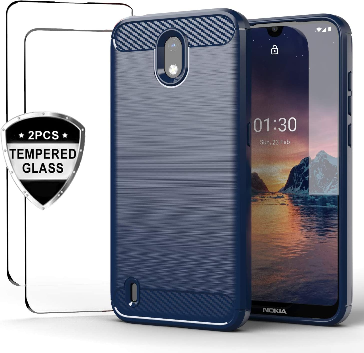 funda resistente + 2 vidrios templados  Nokia 1.3 azul