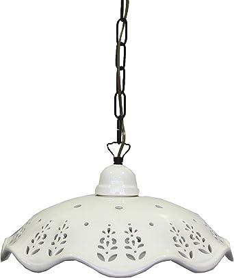 lámpara de Techo con pantalla de cerámica blanca Perforada con ...