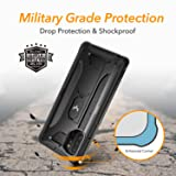 YOUMAKER Kickstand Designed for Samsung Galaxy Note 10 Plus Case, Built-in Screen Protector Work with Fingerprint ID Full Body Heavy Duty Shockproof Cover for Galaxy Note 10 Plus 5G 6.8 Inch - Black