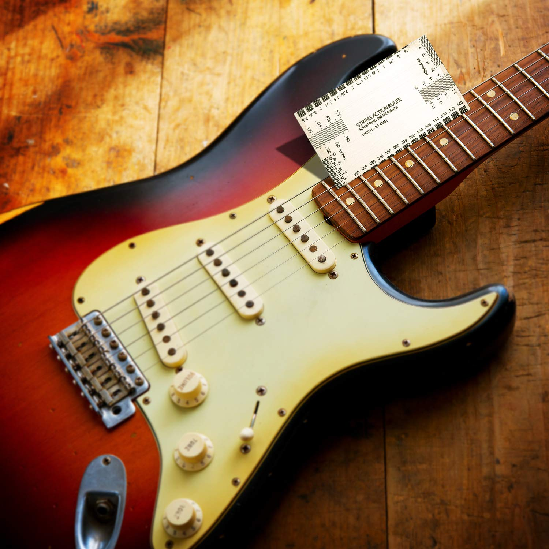 Doble función multifunción String Action Regla Luthier Tool y Up Gauge Ruler , Guía del usuario , Luthier Tool para guitarras eléctricas, acústicas y de ...
