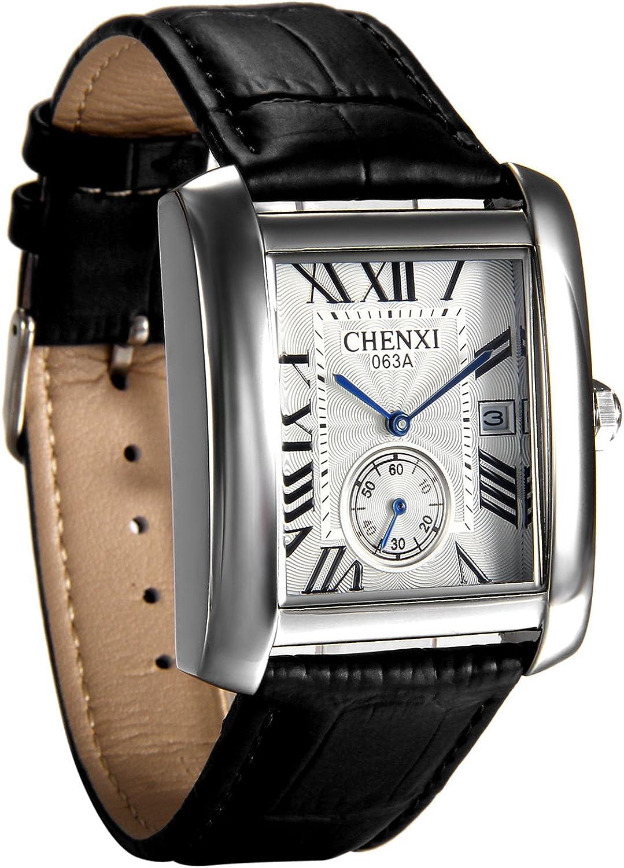 Avaner - Reloj de pulsera para hombre, cuadrado, de piel, con números romanos, analógico, cuarzo, correa de piel, reloj clásico retro con ventana de calendario automático
