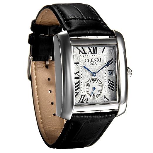 avanver Mens Causal Vintage números Romanos Correa de Piel analógico Reloj Calendario Cuarzo muñeca Cuadrado Reloj de Segunda Mano: Amazon.es: Relojes