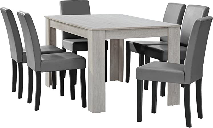 En Casa Table A Manger Chene Blanc Avec 6 Chaises Gris Brilliant Cuir Synthetique Rembourre140x90