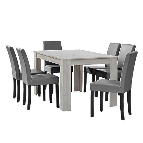 Tavolo Bianco E Sedie Nere.En Casa Tavolo Da Pranzo Rovere Bianco Con 6 Sedie Nere 14x9cm Sala Da Pranzo Set Cucina