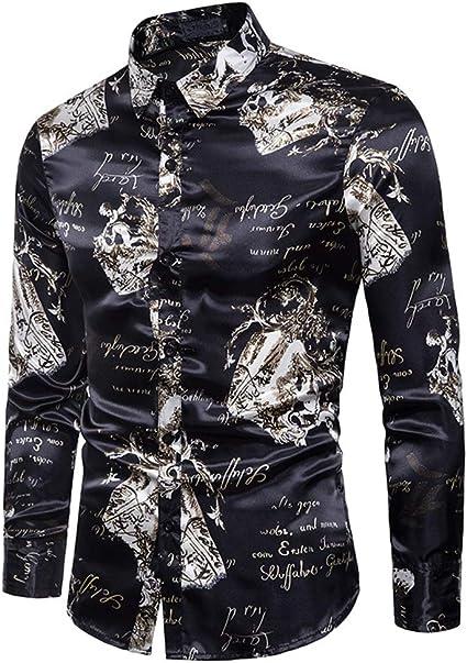 Camisa de Vestir con Botones de Manga Larga Camisa Negra para ...