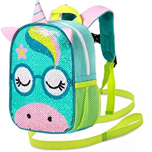 """Toddler Backpack Leash, 9.5"""" Sequin Safety Harness Unicorn Bag - Removable Tether"""