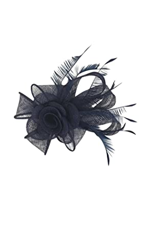 Finecy In - Artistic Sinamay Rose Flower and Feathers Fascinator Wedding Hat  Races Prom Royal Ascot Headpiece Clip   Headband (Navy)  Amazon.co.uk   Clothing 92085cc5cf60