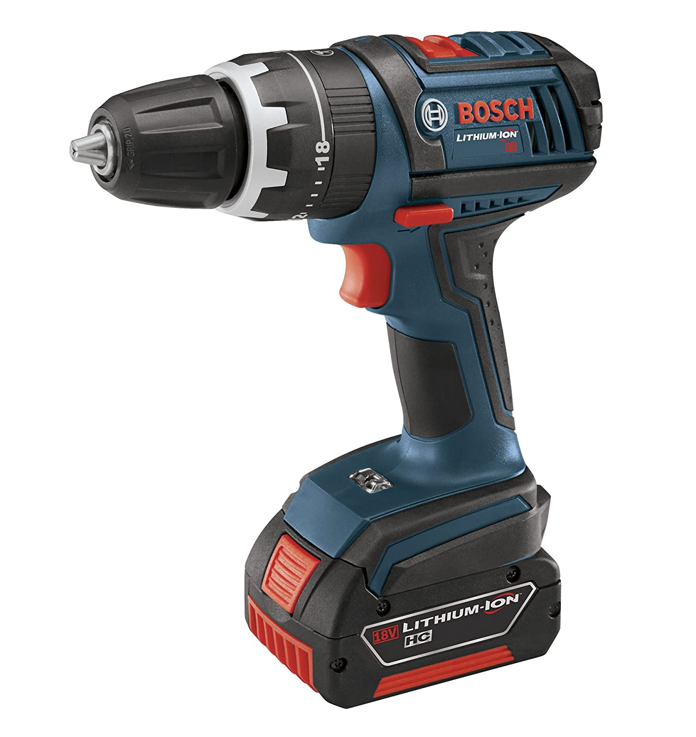 Bosch HDS181-01 18-Volt Lithium-Ion 1 2-Inch Compact Tough Hammer Drill Driver Kit with 2 High Capacity Batteries, Charger and Case