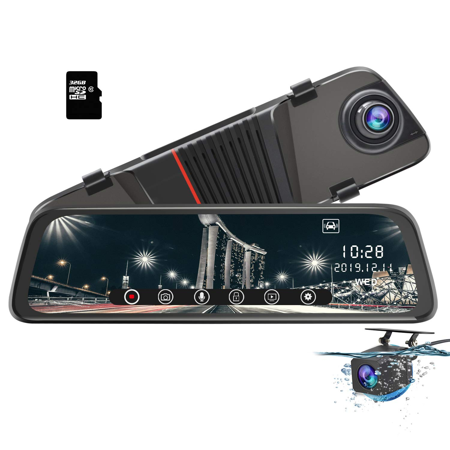 awesafe Mirror Dash Cam 10 inch Touch Full Screen Front 1080P Rear 1080P Dual Lesn 170° Wide Angle Rear View Camera 24-Hour Parking Monitoring (32GB Card Included)