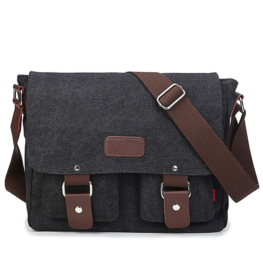 Color : Black KRPENRIO Mens Briefcase Zippered Canvas Waterproof Messenger Bag Shoulder Bag