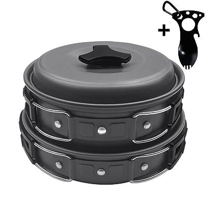 Startostar Camping Cookware, compacto, resistente al aire libre mochila ollas y sartenes Set con
