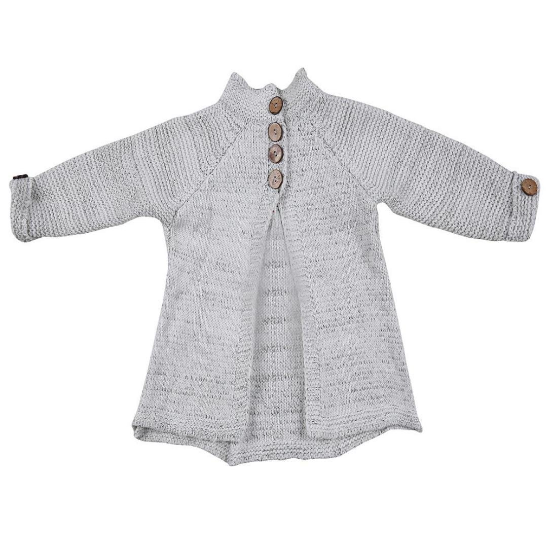 Fabal Toddler Kids Baby Girls Outfit Clothes Button Knitted Sweater Cardigan Coat Tops