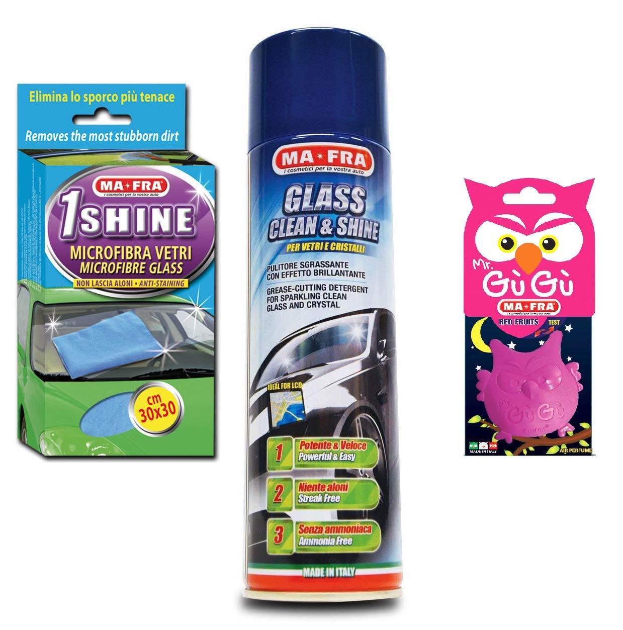 KIT PULIZIA AUTO MA-FRA detergente lucidante vetri panno 1shine PROFUMATORE IN REGALO HT