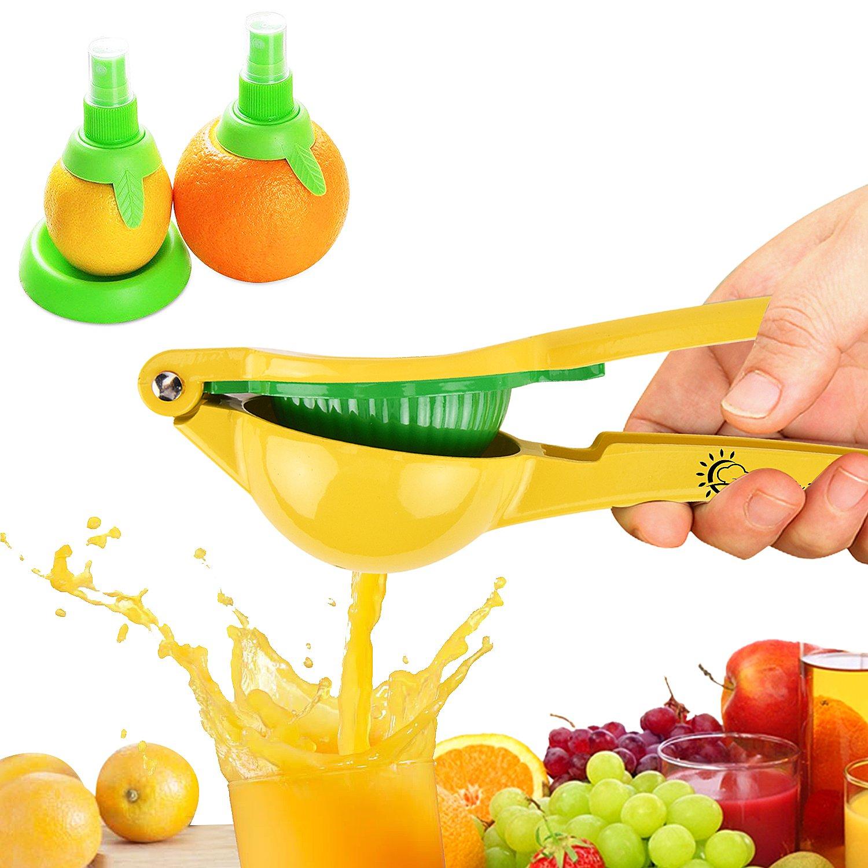Manual Lemon Squeezer, Hand Citrus Lime Juicer Press, Metal Fruit Juicer/Citrus Press Kitchen Tool by Chef Time, with Lemon Sprayer Kit