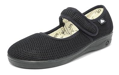 8b6611e874b Womens Ladies X Wide EEE Fit Washable Mesh Shoes Velcro Pumps Black Size 3