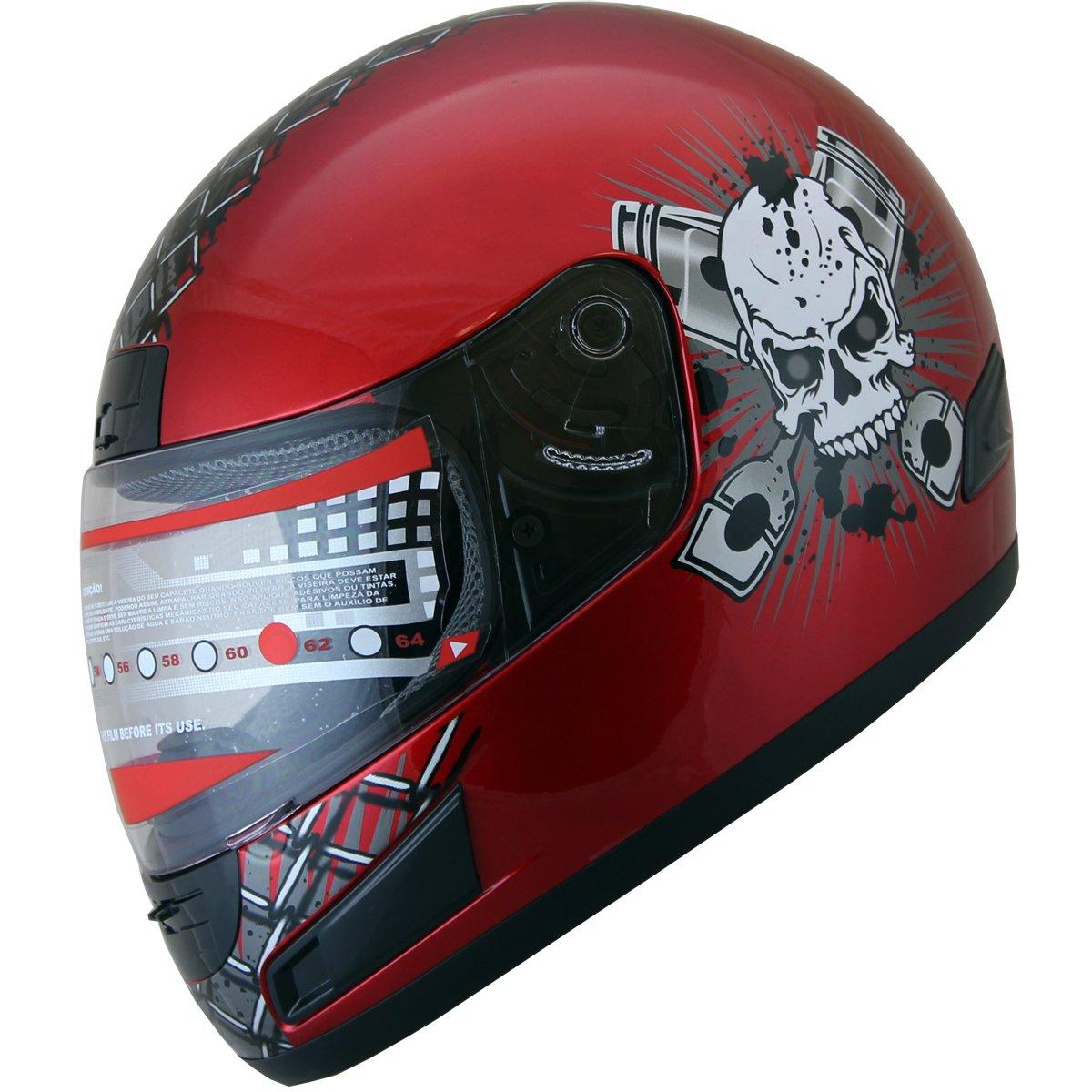 Motorcycle Helmet Full Face sports Bike Helmet skull F114 Wine Red (Med) by X4