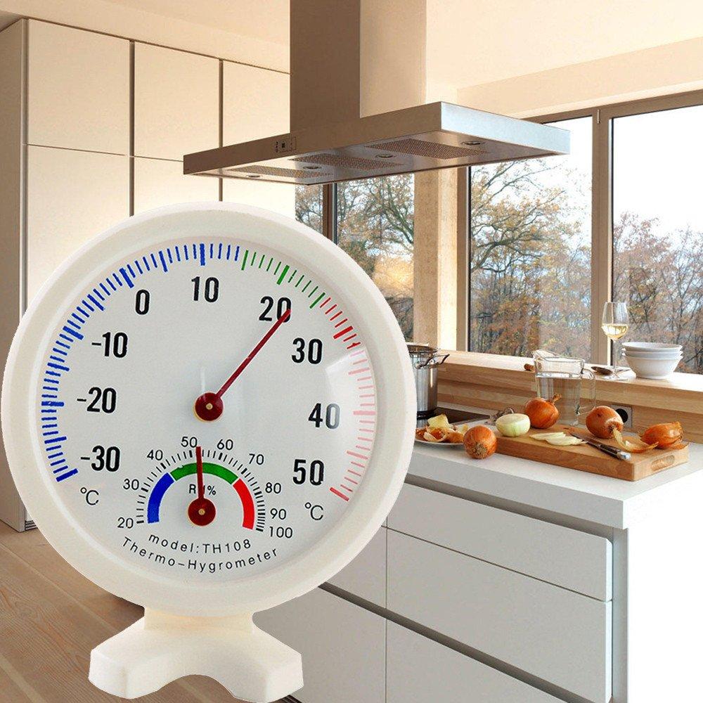 Luwu-Store Mini-hygrom/ètre ext/érieur en Forme dhorloge dhumidit/é thermom/ètre de Mesure de la temp/érature de la jauge cozinha 1pc