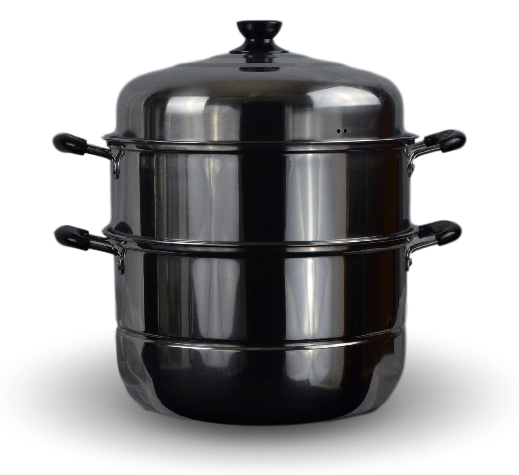3 Tier Stainless Steel Steamer Cookware Pot (12'')