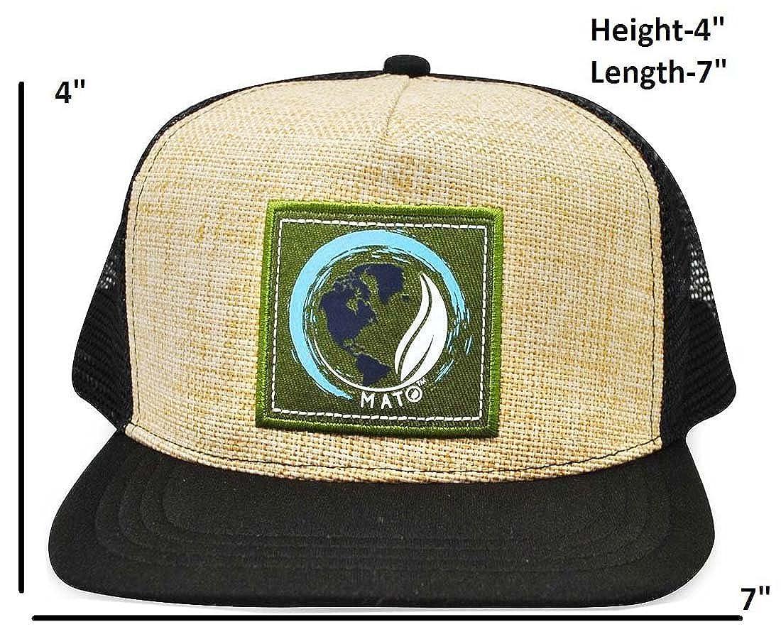 72bdad1a9ca Mato Hemp Trucker Hat Flat Brim Snapback Net Mesh Baseball Cap Black at  Amazon Men s Clothing store