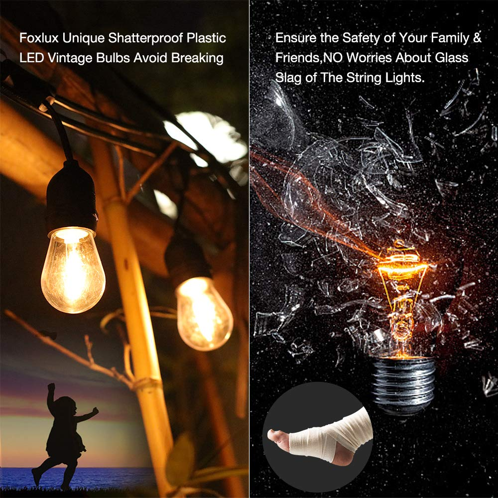 Foxlux Solar String Lights - 48FT LED Outdoor String Light - Shatterproof, Waterproof Pergola Lights - 15 Hanging Sockets, Light Sensor, S14 Edison Bulbs - Ambience for Patio, Backyard, Garden, Bistro by FOXLUX (Image #3)