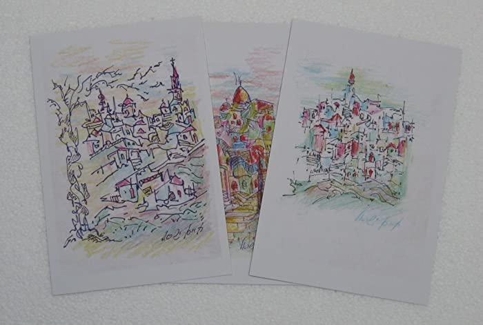 Amazon com: Set of 3 printed drawings in postcard size - The