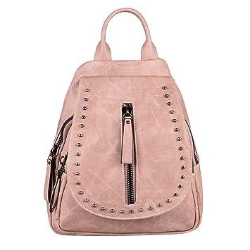 f4bbd688b695e OBC Damen Rucksack Backpack MÄDCHEN Cityrucksack Schultertasche Leder Optik  Tasche Daypack Handtasche Umhängetasche Nieten (Altrosa