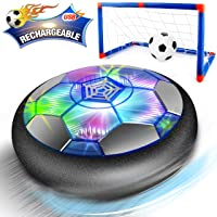 Kids Toys Hover Soccer Ball - 2019 Updated Rechargeable LED Air Power Soccer Set with 2 Goals and an Inflatable Ball, Indoor Toddler Toys for 3,4,5,6 -14 Year Old Boys Girls (Rechargeable Version)