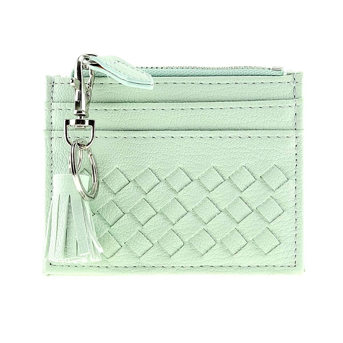 RFID Blocking Genuine Leather Compact Card Wallet Credit Card Case Organizer with Key Ring (Green)