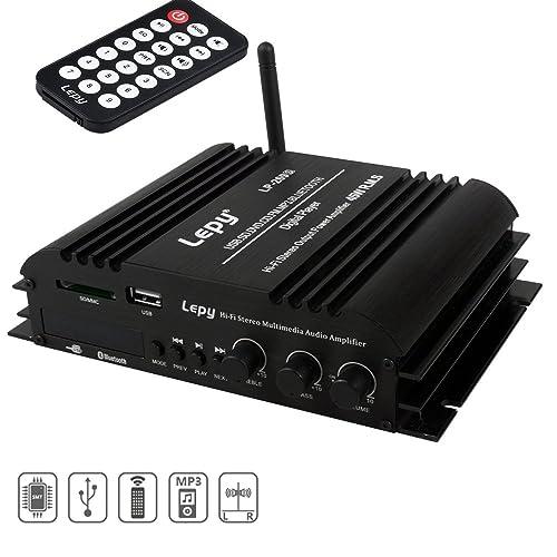 Mini Bluetooth Amplificador, FisherMo Wireless Streaming Digital Class D Amplificadores Hi-Fi de 4
