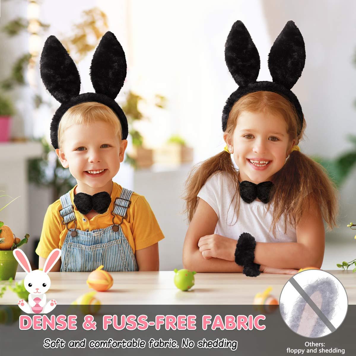 Bunny Ears Headband for Halloween Easter Rabbit Costumes with Headband Bow Tie Bracelet and Tail Set (5PCS, Black)