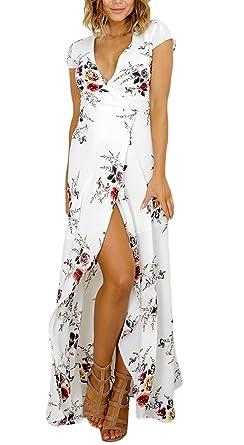 Robes Femme Manche Courte Fleur Imprimée Ethniques D\u0027Été Chic Moulantes  Robes Longues Boheme Robes