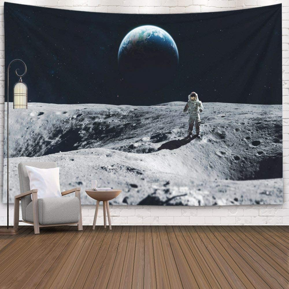 Wall Hanging Tapestry,Douecish Decoration Astronaut Stay the Moon Surface Against Earth Background Exploring Space Other for Bedroom Living Room Decor Wall Hanging Tapestry 80X60 Inches,Gray Blue