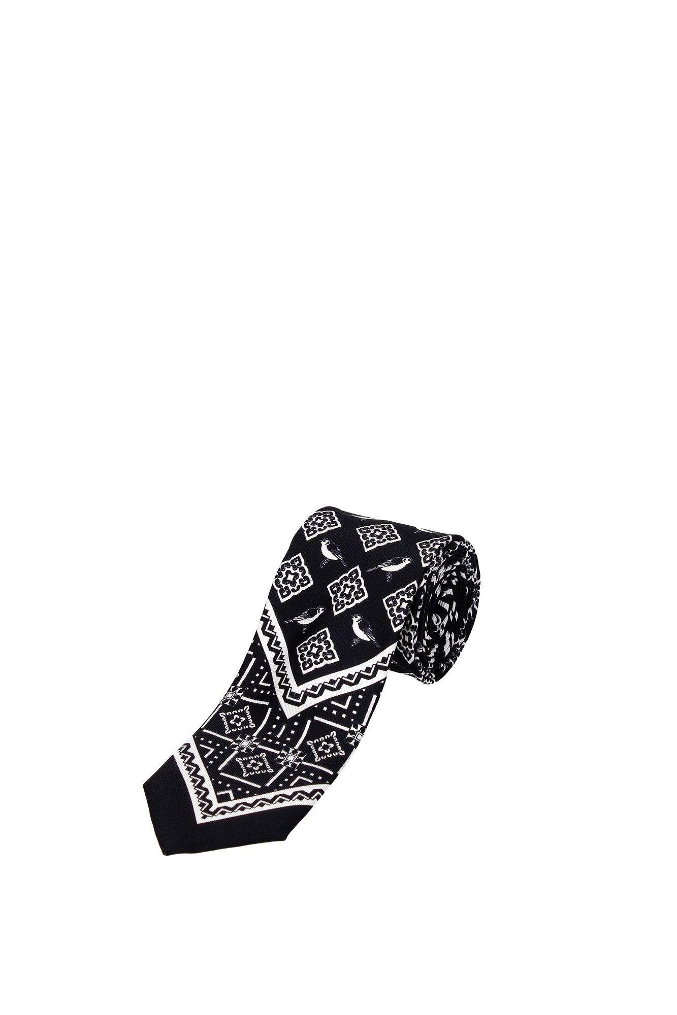 Dolce & Gabbana Black Silk White Bird Print Tie