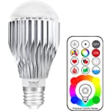 Yangcsl Remote Controlled A19 10W RGBW Color Changing LED Light Bulb, RGB + Daylight White, 60W Incandescent Bulb Equivalent, 120 Color Choice, E26 Medium Screw Base