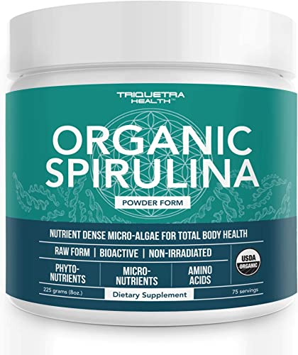 Organic Spirulina Powder 4 Organic Certifications – Certified Organic by USDA, Ecocert, Naturland OCIA – Vegan Farming Process, Non-Irraditated, Max Nutrient Density 8 oz.