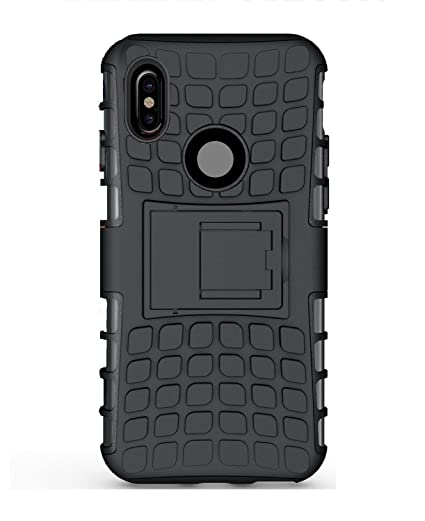 the latest 36a81 245f3 Mi Xiaomi Redmi Note 5 Pro Dual Layer Tough Rugged Shockproof Hybrid  Warrior Armor with Kickstand(Black)