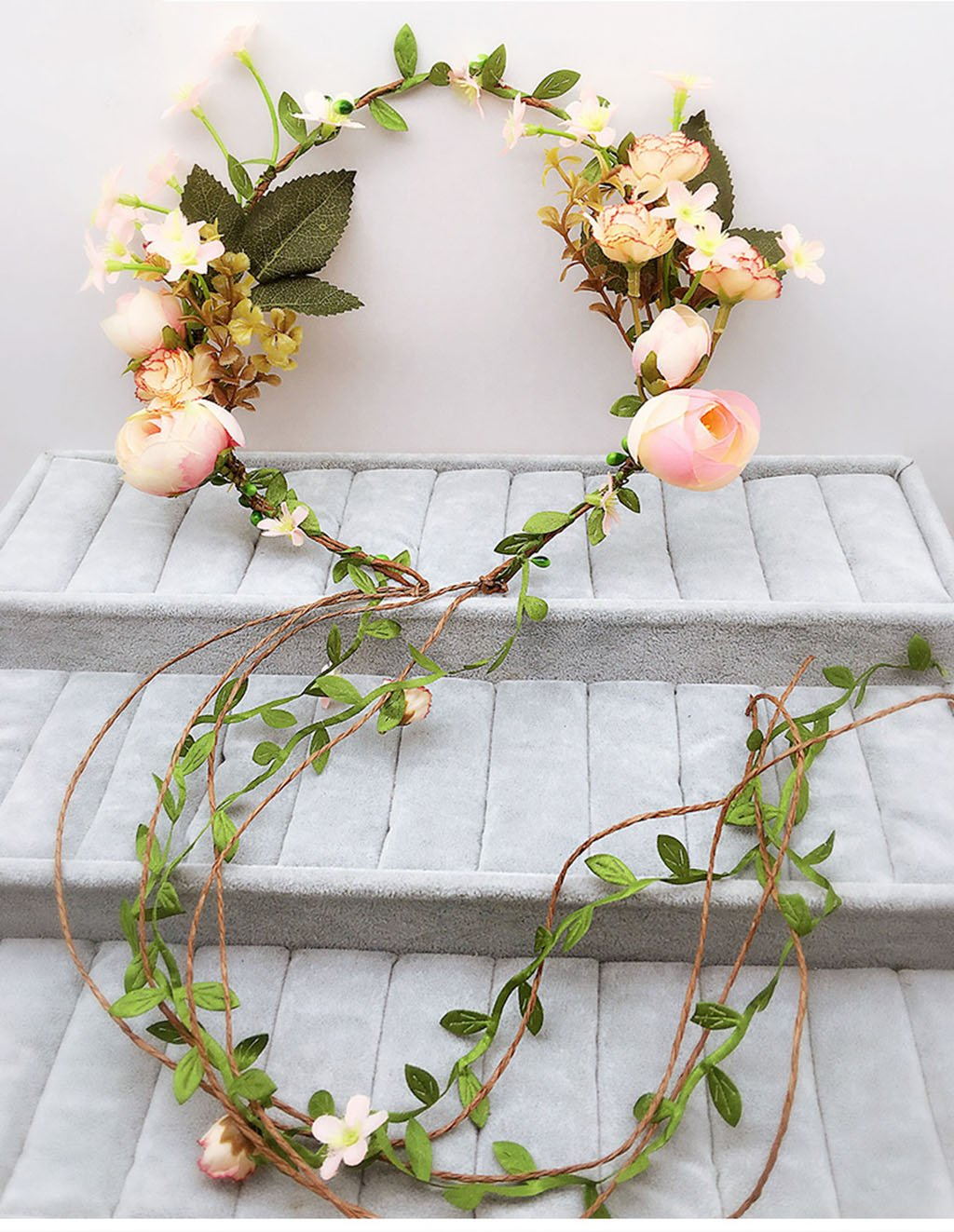 Wreath Flower, Headband Flower Garland Handmade Wedding Bride Party Ribbon Headband Wristband Hairband Beige (Color : D)