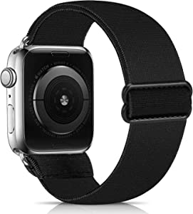 ShuYo Adjustable Elastic Watch Band Compatible for Apple Watch Band 38mm 42mm 40mm 44mm iwatch Series SE/6/5/4/3/2/1,Soft Fabric Cotton Sport Replacement Loop Strap Wristbands for Women Men(42/44mm)