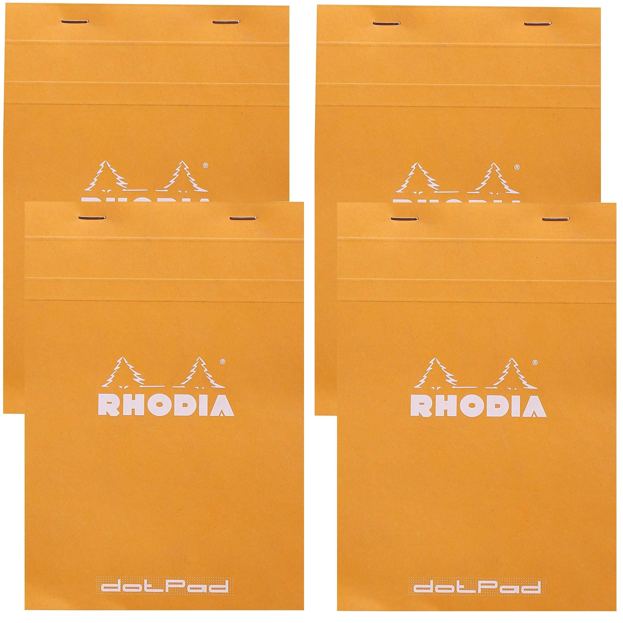 Rhodia Staplebound Notepad - Dot grid 80 sheets - 6 x 8 1/4 - Orange cover, Pack of 4